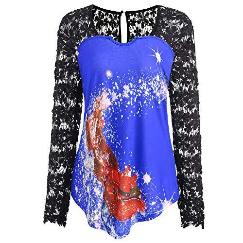 (IZHH Weihnachtshemd, Langarm Weihnachtsdruck Häkelspitze Stitching Insert Asymmetrische Party Bluse Outdoor Tops Karneval Pullover Daily Shirt(Blau,X-Large))