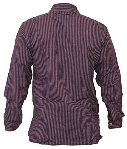 SHOPOHOLIC FASHION Herrem Streifen Hippie Großvater Shirt Lila