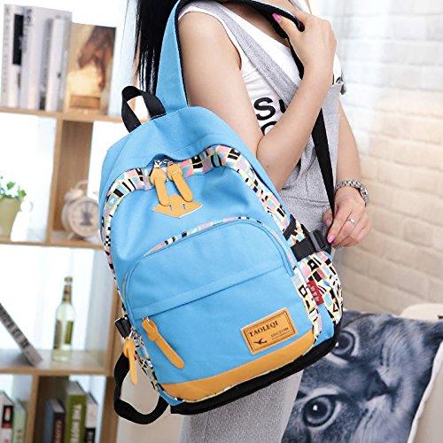 Studente di Canvas zaino vento nazionale Lady Borsa a tracolla edizione coreana borse casual, blu cielo Dark blue