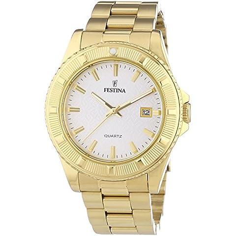 Festina Trend F16682/1 - Reloj analógico de cuarzo unisex, correa de acero inoxidable chapado color dorado (agujas