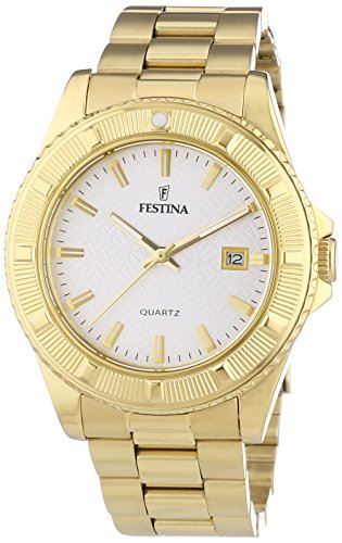 Festina Unisex Quartz Watch with Silver Dial Analogue Display and Gold Stainless Steel Bracelet F16682/1