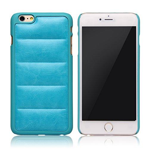 iPhone 6Cas sans protection d'écran en verre, charitik Étui en cuir fin avec film de protection d'écran en verre trempé Cire douce Surface Canapé style bleu eau