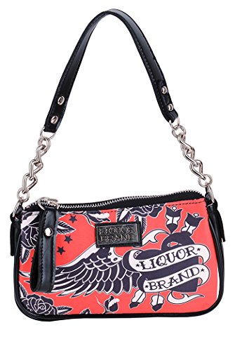 Liquor Brand BLACK HEART Vintage Chain Bag TASCHE Oldschool Rockabilly Schwarz-Rot