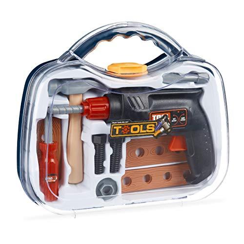 Relaxdays Werkzeugkoffer für Kinder, 11-teilig mit Bohrmaschine (Drehfunktion), Handwerker Spielen, mit Hammer UVM.