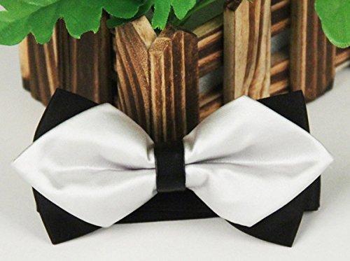 Panegy - Nœud papillon rayé - Lavallière avec double couche - Homme Soirée Businesse Mariage Cérémonie Déco Fête Costume Necktie 6*12cm #3Blanc