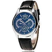 Trendy High Quality Quartz Watch Universal Slub Pattern Leather Strap Round Dial Quartz Watches Exquisite Workmanship