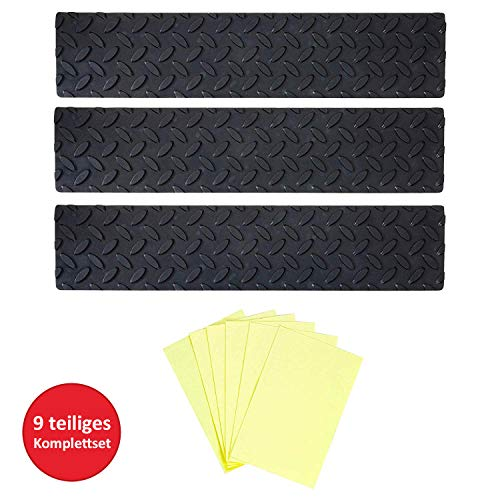 UPP Gummi Stufenmatte 3er Set - Gummimatte individuell zuschneidbar - Rutschfeste Fußmatte - drinnen & draussen