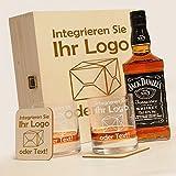 6-tlg Whisky Geschenk-Set mit Jack Daniels No.7 | 2 Gläser, 2 Untersetzer und Whiskey Flasche in Geschenk-Box mit Gravur-