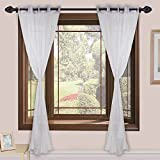 Homefab India Sheer Strips 2 Piece Polyester Curtain Set - 7ft, White