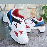 TOPENTAR Multifunktionale Deformation Schuhe Quad Skate Rollschuhe Skating Outdoor Sportschuhe für Erwachsene (38, Weiß blau)