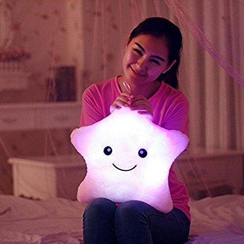 Cojín con luz LED Missley, diseño de estrella morado