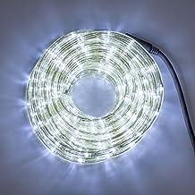 Tube lumineux d'extérieur 9 m, 10 mm, 230V, cordon lumineux de 216 LED blanc froid horizontale, avec contrôleur