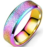 Anello da donna in acciaio inox sabbiato, finitura opaca, per promessa di matrimonio, 4 colori disponibili