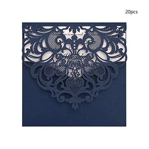 Mouchao 20PCS Hochzeits-Geburtstagsfeier-Einladungs-Karten-Installationssatz mit innerem Marine-Blau der Papier-D122