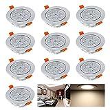 Hengda® 10 Set 7W LED Einbauleuchte Einbaustrahler Spot Möbelleuchte Silber | Schwenkbar 30 Grad - 220v | für den Wohnbereich Flur Garderobe | Warmweiß(2700K-3200K) | Markantes Design