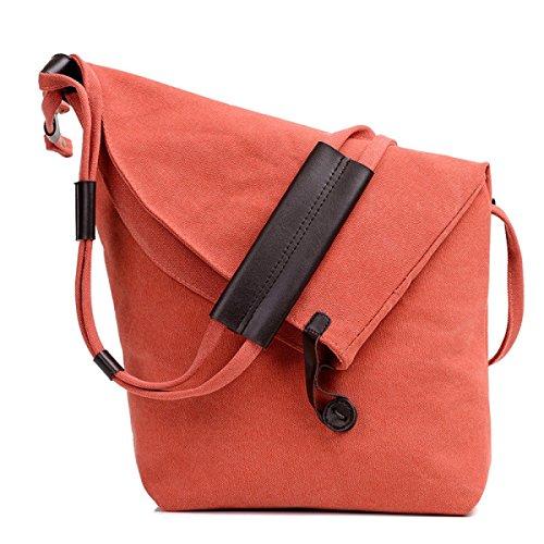 FZHLY Versione Coreana Canvas Shoulder Bag Pacchetto Di Grandi Dimensioni Casuale,Brown Orange
