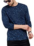 #6: Maniac Men's Fullsleeve Round Neck All Over Printed Navy Cotton Tshirt