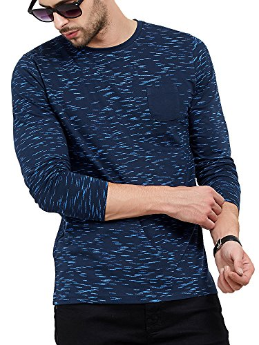 Maniac Men's Cotton Full Sleeve Round Neck All Over Printed T-Shirt (Navy, Medium)