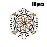 Wandaufkleber Yesmile, 10PCS Vintage Fliesenaufkleber für Küche und Bad Verschiedene Mosaik Wandfliesen Aufkleber für Fliesen Deko für Küche 20X23cm-D (A)