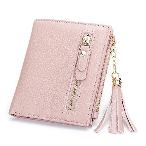 DcSpring Portafoglio Piccolo in Vera Pelle Portamonete Elegante Porta carte di credito con Cerniera per Donna (Nero) Pink