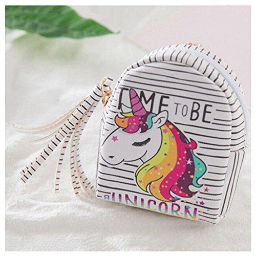 Unicorn Coin Purse Cartoon Women Girls Kids PU Leather Zipper Mini Wallet Holder Coin Card Pouch Bag with Keyring