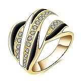 3-W-Hohenlimburg Modell 6650, goldener Damen Ring vier-farbig mit dezenten Farbstreifen und klaren Einfassungen, Größe 17 1/4 (Diameter 17,35mm)