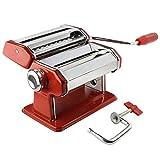 AMOS ® 3 in 1 Macchina Professionale di Acciaio Inossidabile per Pasta Fresca Lasagne Spaghetti Tagliatelle (Rosso)