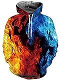 Goodstoworld 3D Pullover Kapuzenpullover Mädchen Herren Hoodie Sweatshirt Bunt Fire Grafik Langarm Kapuze Kapuzenpulli