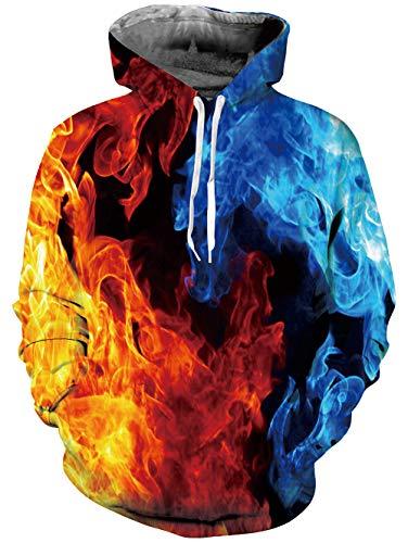 Goodstoworld Bunt 3D Hoodie Jungens Feuer Unisex Bunt Druck Hoodie Pullover Sweatshirt Langarm Fleece Kapuzenjacke Kostüm Top