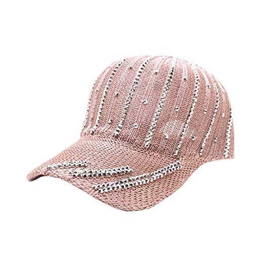 syeytx Frauen Männer Atmungsaktive Strickmütze Sommer Koreanische Version Der Wilden Strass Baseballmütze Sonnencreme Visier Hut Sport Hut Visier Hut