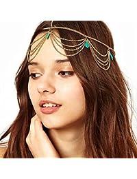 Damen Kopf Kette Stirnband Party Haarband Tuerkis Schmuck Haarband