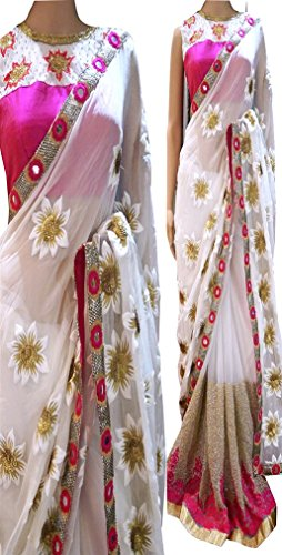 SUNSHINE White Color Georgette Fabric Multiwork Saree