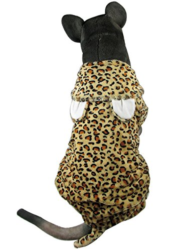 leidung für Buchse/Stecker Leopard Print Hund Kostüm mit Kapuze Hund Schlafanzüge Hund Jumpsuit (Funny Halloween-kostüme-superhelden)