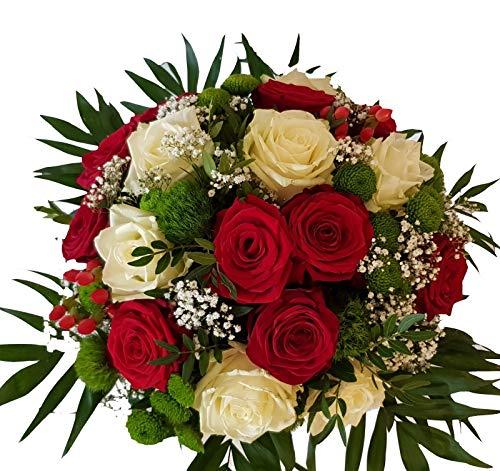 Rote Rosen - Weiße Rosen | PERFEKT FÜR DAS THEMA LIEBE | VERSANDKOSTENFREI | mit FRISCHEGARANTIE | LIEBEVOLL gebundener Blumenstrauß mit Rosen |,Märchen werden wahr,