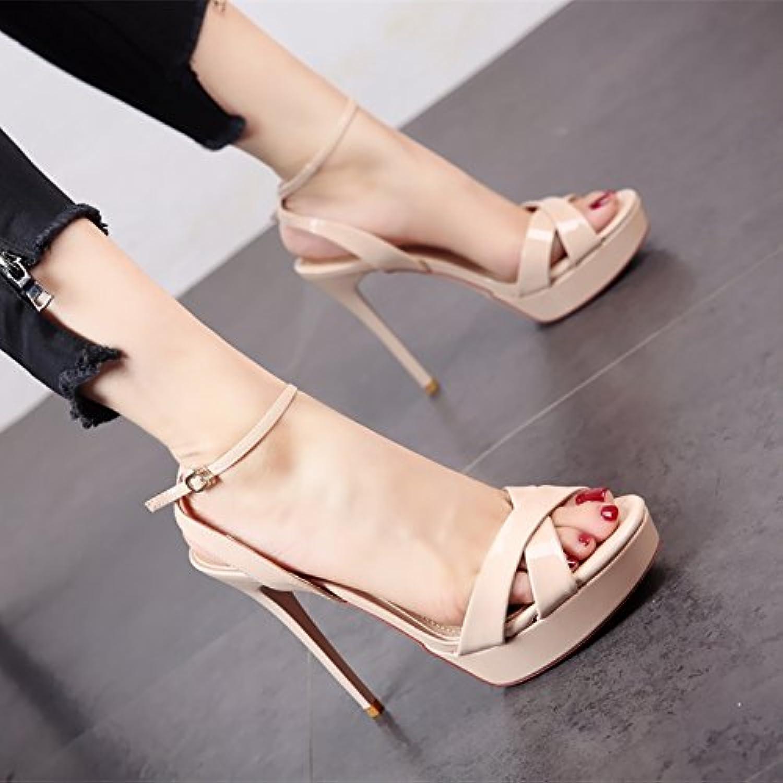 YMFIE Personalidad sexy moda verano multa Party boda zapatos de tacón alto lady's ahuecado toe sandalias,35 EU,c -
