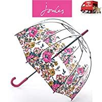 Joules Cambridge Floral Anniversary Birdcage Walking Umbrella Clear Dome Canopy