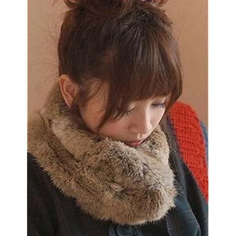 Xoe LE encantadora manera de las mujeres de la bufanda de cuello clásico de piel de conejo , screen