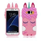 Samsung Galaxy S7 Edge Hülle, Mode Niedlichen Cartoon 3D Muster [Stoßfestes Design] Dicke Weiche Silikon Rückseitige Abdeckung Telefon handyhülle für Samsung Galaxy S7 Edge, Unicorn Einhorn