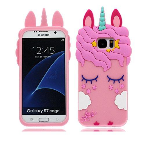 Galleria fotografica Samsung Galaxy S7 Edge Custodia, Moda Cute Cartoon 3D Pattern [Antiurto Design] Custodia rigida in silicone per telefono cellulare Cover Copertura per Samsung Galaxy S7 Edge, Unicorn Unicorno