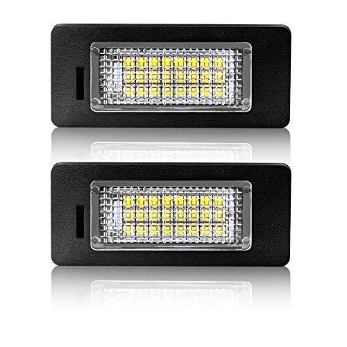 Safego Luci Targa a LED per Auto Lampada Targa 2835 SMD 6000K Xeno Bianco per A-u-d-i Q5/A1/A4(B8)/A5/S5/A6/S6/A7/TT/RS5 ecc, 2 Pezzi, 1 anno di Garanzia