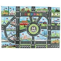 SM SunniMix 83 * 58cm World Map Traffic Road Play Mat W/Track for Car Truck Train Kid Toy