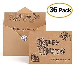 Kuuqa Tarjeta de Navidad Feliz Navidad Tarjetas Sobres y Pegatinas, Paquete de 36