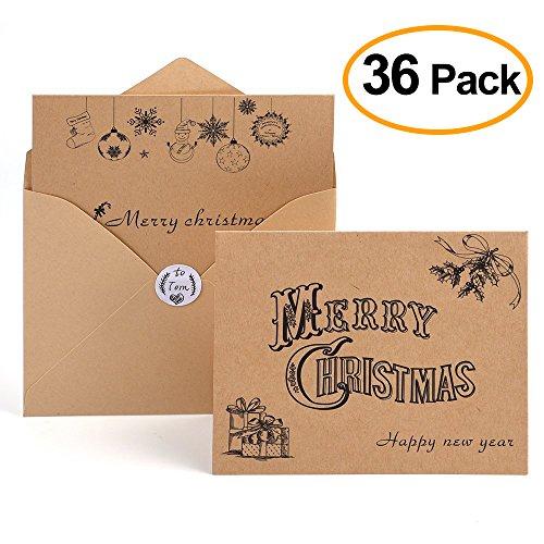 kuuqa Glückwunschkarte Weihnachten Karten Frohe Weihnachten wünschen Karten mit Umschläge und Sticker (36Packung) Frohe Weihnachten Karten