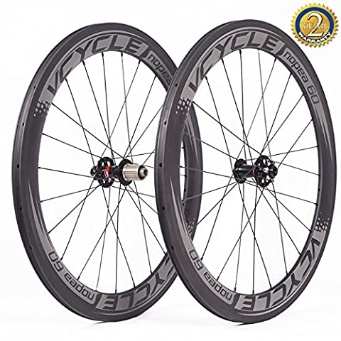 VCYCLE Nopea 700C Carbon Racing Road Bike Wheelset 60mm Clincher Disc Brake Width 23mm only Used for Axle Hub UD