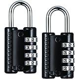 TopElek 2 Pack Kombinationsschloss 4-stelliges Zahlenschloss Vorhängeschloss für Schule Gym Locker, Kofferschloss Gepäckschloss, Aktenschränke, Toolbox, Gehäuse (schwarz).