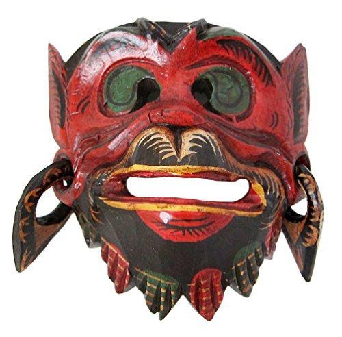 Holz Affe Maske der Lord Hanuman, Wand-Maske Hand-geschnitzt in Bali, Hindu Gott rot