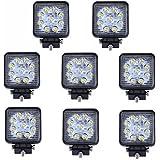 SAILUN 8 x 27W LED Luz de trabajo Cuadrado campo a través del reflector Proyector reflector de faro 1600LM IP67 Negro fundido de aluminio