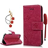 iPhone SE/ iPhone 5S/ iPhone 5 Case, YOKIRIN Full Body Premium PU Leather Wallet Folio Case Stylish Patterns Embossed Shock-Absorption Scratch-Resistant Cover Magnetic Clasp Stand Card Cash Holders For iPhone SE/ iPhone 5S/ iPhone 5 - Hot Pink
