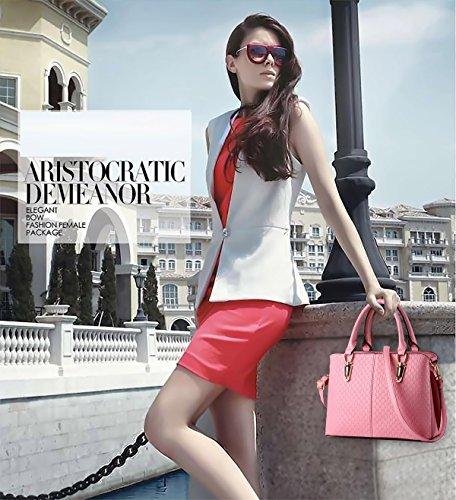 Tisdain Borsa a tracolla borsa in pelle goffrata borsa qualità Ms. borsa raccoglitore dell'unità di elaborazione Messenger bag big bag rosa