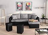 UsineStreet Canapé d'angle Guest Réversible et Convertible avec Coffre et 2 Poufs Noir/Gris